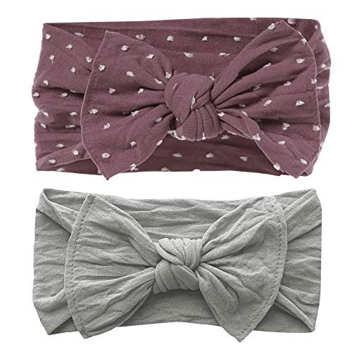 Baby Bling Bows Newborn to Little Girls Hair Bow - Shabby Dot and Classic Knot Headbands Toddlers Hair Accessories, One Size (2 Pack - Lilac Dot and Grey)