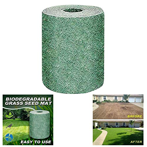TRYIF Biologisch abbaubare Grassamenmatte, Rasenschutz, Wärmeschutz, hohe Trockenresistenz, All-in-One-Vollkeimlingsfunktion 20CM × 300CM (1)