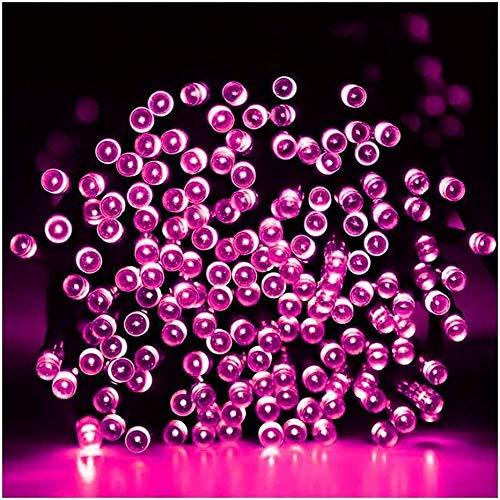 ZBM-ZBM Tuinverlichting op zonne-energie, waterdicht lichtsnoer, 7-102m 50-1000 LED's 8 fonkelende modi, decoratieve buitenverlichting snoer licht voor Kerstmis, Halloween, Yard, huwelijksversiering (kleur: Pin