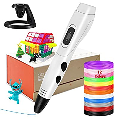 Intelligent 3D Printing Pen, KNMY 3D Pen with LCD Display, USB Charging 3D Drawing Pen with 6 Speed Printing, Temperature Control and 12 Colors PLA Filament for All Age