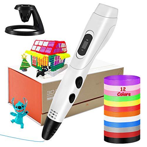 Lápiz 3D inteligente, KNMY Pluma 3D con Pantalla LCD, Impresión de 6 Velocidades, Control de Temperatura y Filamento PLA de 12 Colores, 3D Pen Compatible con PLA y ABS para Niños y Adultos