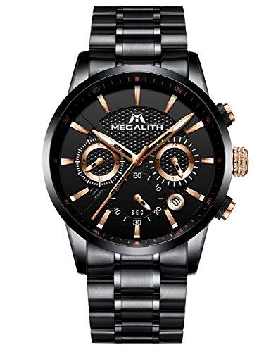 Relojes de Hombre Reloje Grandes de Pulsera Military Cronógrafo Impermeable Negro Acero Inoxidable Reloj para Hombres Calendario Analógico
