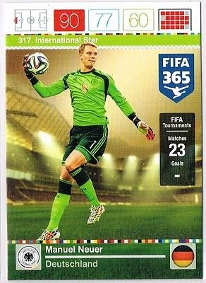 Panini Adrenalyn XL FIFA 365 Manuel Neuer International Star Trading Card