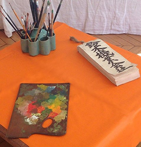 Fleur de soleil ~ Nappe Unis Orange Coton Enduit 120x120