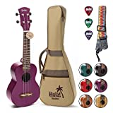 Hola! Music HM-121PP+ Deluxe Mahogany Soprano Ukulele Bundle with Aquila Strings, Padded Gig Bag, Strap and Picks - Purpl