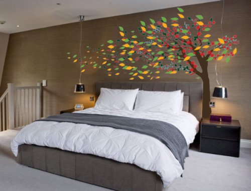 """Blowing Tree Cherry Blossom Nursery Wall Decal Wind #1181 (96"""" High x 160"""" Wide)"""