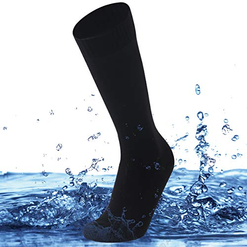 SuMade Knee High Waterproof Socks, Men Women Long Moisture Wicking Dry Fit Breathable Athletic Outdoor Recreation Coolmax Mountain Cycling Hiking Dress Socks for Summer 1 Pair (Black, Medium)