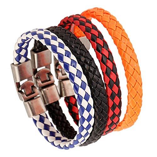 JZHJJ eenvoudige en stijlvolle klassieke paar armband Stabiele armband Pop Vintage gevlochten lederen armband (4 Pack) bevat: armband, armbanden vrouwen, armband koord, armband mannen, armbanden koppels