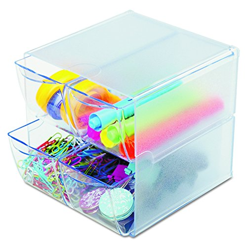 Deflecto Stackable Cube Organizer, Desk and Craft Organizer, 4 Drawers, Clear, Removable Drawers and Dividers, 6'W x 6'H x 7 1/8'D (350301)