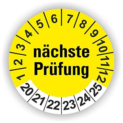 5-1.000 Stück Prüfplaketten Prüfetiketten Wartungsetiketten nächste Prüfung Ø 30mm (Gelb 60 Stück)