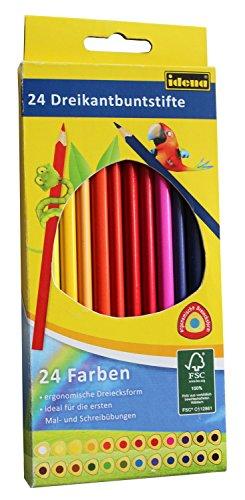 Idena 10323 – Buntstifte in ergonomischer Dreiecksform, 24 Stück im Kartonetui, zum Malen, Zeichnen und Kollorieren im Kindergarten, der Schule und in der Freizeit