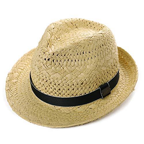 Comhats Sombrero de Paja de Verano para Hombre, Sombrero de Verano Fedora Panama Beach Sun Sombreros de ala Corta con Banda Plegable Beige Beige_Black Band_B M