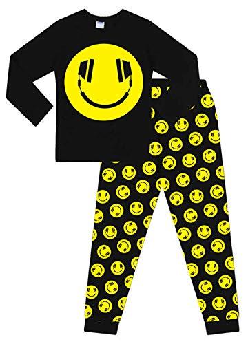 Schlafanzug für Jungen, Smiling Face Emoji-Stil, mit Kopfhörern, Baumwolle Gr. 11-12 Jahre, Schwarz