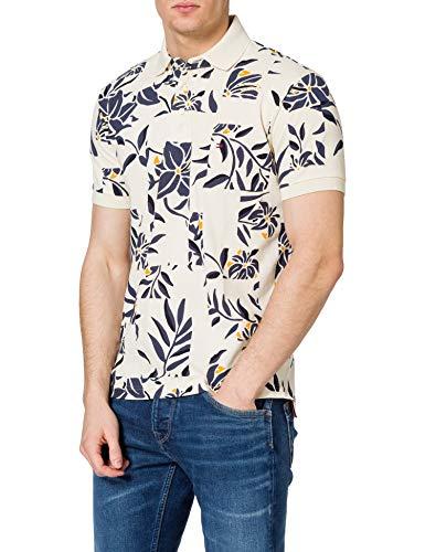 Tommy Hilfiger Patchwork Flower Print REG Polo Camisa, Crudo/Multicolor, S para Hombre