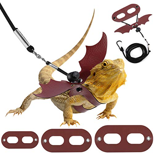 Pawaboo Adjustable Bearded Dragon Harness and Leash, 3 Size Leather Reptile Leash Outdoor Harness Leash with Bat Wings for Lizard Reptiles Amphibians Small Pet, Small/Medium/Large, Black+Wine Red