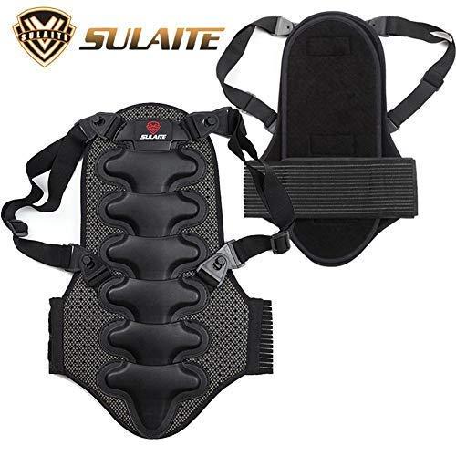Funihut Rückenprotektor für Motorrad, Ski, Snowboard, Verstellbare elastische Schultergurte, Schwarz, Größe S-XL