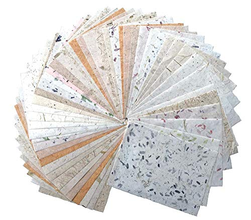 50 Sheets A4 Thin Mulberry Paper Sheets Art Tissue Washi Paper Design Craft Art Origami Suppliers Card Making (Tamarind Leaves,Onion,Banana Tree Fiber,Rice Straw etc.)