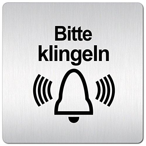 Kinekt3d Leitsysteme XXL Schild - Türschild • 125 x 125 mm • Hinweisschild Bitte klingeln aus 1,5 mm starkem Aluminium mit veredelter Oberfläche • schneller Versand aus Köln!