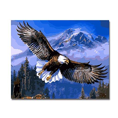 BOSHUN Malen nach Zahlen DIY Ölgemälde für Kinder Erwachsene Anfänger- Adler 16x20 Zoll Leinwanddruck Wandkunst Dekoration (Ohne Rahmen)