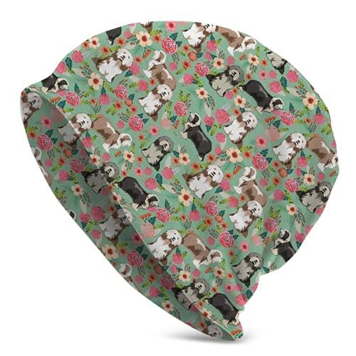 landianguangga Barbudo Collie Floral Ligero Invierno Beanie Hat Bufanda Conjunto Forro Polar Warm Knit Grueso Cráneo Cap para