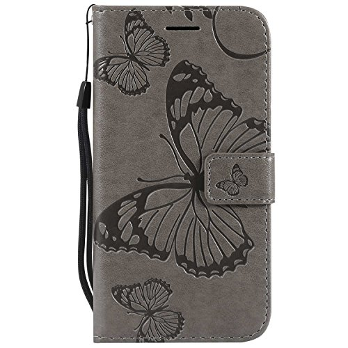 DENDICO Cover Galaxy S5, Pelle Portafoglio Custodia per Samsung Galaxy S5 Custodia a Libro con Funzione di appoggio e Porta Carte di cRossoito - Grigio