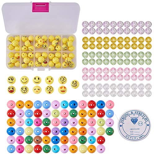SUNNYCLUE 1 Set 221pcs Emoji Smiley Emoticons Gesicht Ball Perlen Armband Craft Kit - DIY Macht 7 Emoji Armbänder