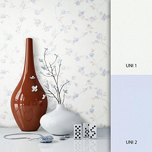 NEWROOM Blumentapete Tapete Blau Blumen Blätter Floral Vliestapete Vlies moderne Design Optik Blumentapete Modern inkl. Tapezier Ratgeber