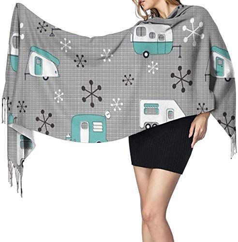 Campers Bus Turkoois Zachte Cashmere Sjaal Wrap Sjaals Lange Sjaals Voor Vrouwen Office Party Reizen 68X196 cm