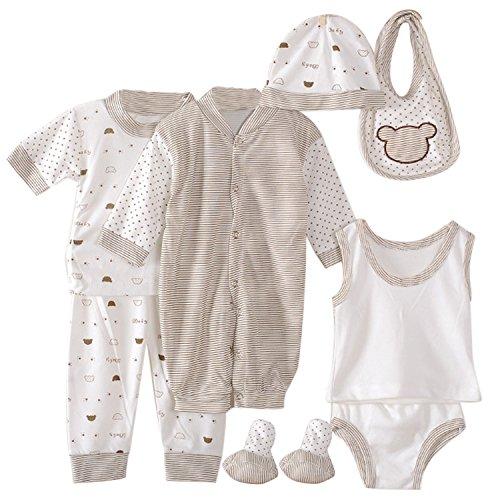 Vococal 8PCS Coton doux bébé nouveau-né vêtements de vêtements pour bébés ensemble comprend salopette t-shirt pantalon gilet slips Cuissard