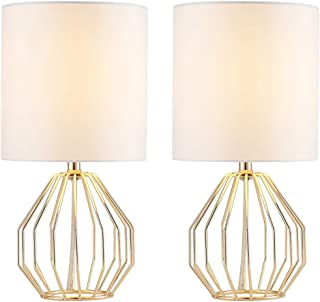 COTULIN Table Lamp,Modern Hollowed Out Small Bedside Lamp with Metal Base and White Fabric Shade for Living Room Bedroom,Gold,Set of 2