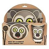 Service de table pour enfant en fibre de bambou écologique Motifs animaux variés. Taille unique Lemur