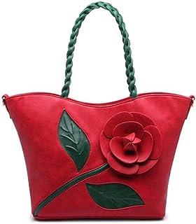 Trendy Ladies Vintage Rose Stereo Big Flower Bag Woven Handbag Crossbody Shoulder Bag Zgywmz (Color : Red, Size : 32 * 15 * 29cm)