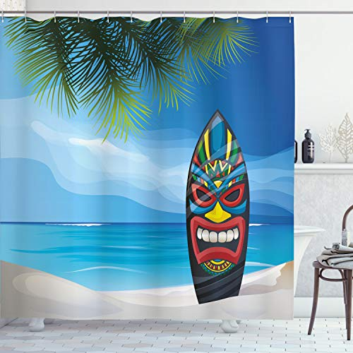 Ambesonne Tiki Bar Shower Curtain, Tiki Warrior Design...