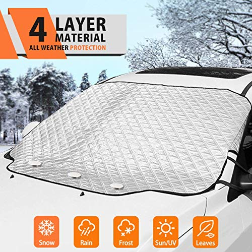 MATCC Car Windshield Snow Cover Frost Guard Windshield Ice Cover for Ice and Snow for Winter Car Truck Van SUV Jeep Windshield with Magnetic Edges and Side Mirror Loops Snap