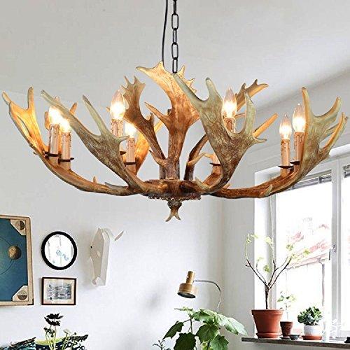 EFFORT INC Antlers Vintage stijl hars 8 licht kroonluchter, Amerikaanse landschap gewei kroonluchter, woonkamer, bar, café, eetkamer hertshoorn kroonluchter