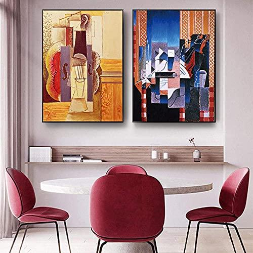 FUJIAJIA Abstrakte Picasso Leinwand Gemälde Künstlerische Geige Nordic Wandkunst Bilder Poster Drucke Für Wohnzimmer Wohnkultur/16X24Inch-2Pcs Ungerahmt