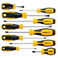 Magnetic Screwdriver Set 10 PCS, CREMAX Professional Cushion Grip 5 Phillips and 5 Flat Head Tips Screwdriver Non-Slip for Repair Home Improvement Craft from CREMAX