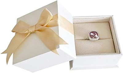 Svea Display Premium Grade White Yellow Ribbon Ring Jewelry Box Engagement Wedding Birthday Diamond Pearl (