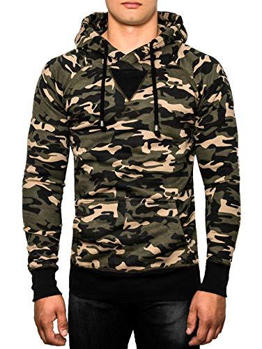 Crone Taro Basic Herren Fleece-Hoodie Kapuzenpullover aus 100% Baumwolle Vegan … (XL, Camouflage)