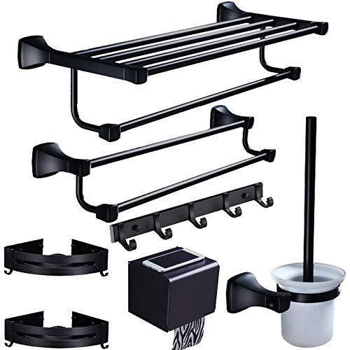 U/D Sygjal Accesorios de baño Soporte de Toalla Tenedor de Papel, Estante de Esquina, Toallero, Soporte de Cepillo de Inodoro Conjunto de Hardware de baño Negro de Aluminio