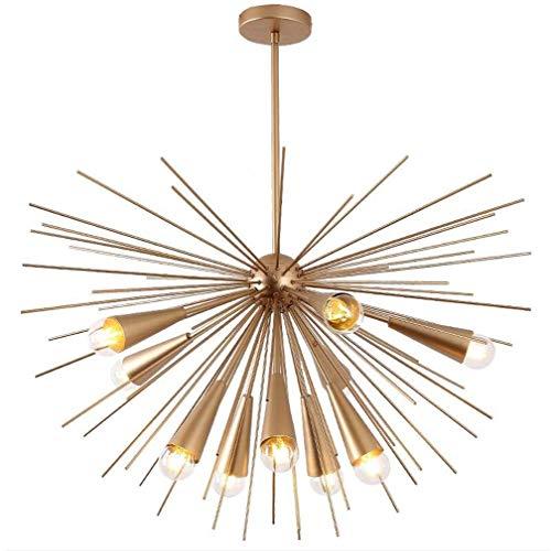 Lampadario a 10 luci in finitura oro, Sputnik Lampada da incasso a semi oro Spike Starburst a luce metà secolo, luce a sospensione per sala da pranzo, E27,110-240V