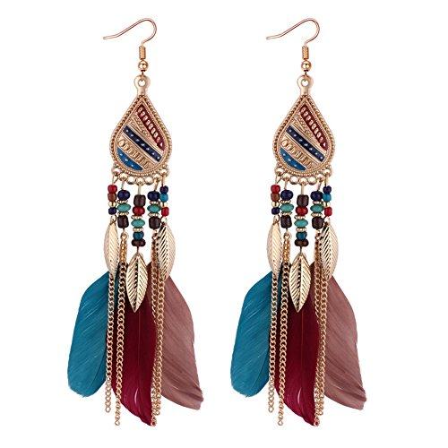 Gemini_Mall, orecchini da donna e ragazza, stile vintage, con nappe, con piume, orecchini pendenti a gancio, da donna, per San Valentino, festa della mamma, matrimonio, Natale, compleanno