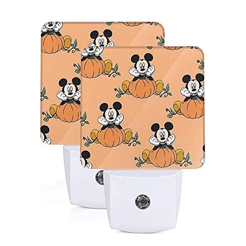 Mickey Mouse - Lámpara de noche con sensor inteligente para Halloween, luz blanca fría, para baño, pasillo, dormitorio, habitación de niños, cocina, escalera, paquete de 2