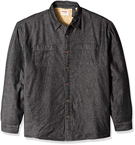 Wrangler Authentics Men's Long Sleeve Sherpa Lined Denim Shirt Jacket, Black, XL