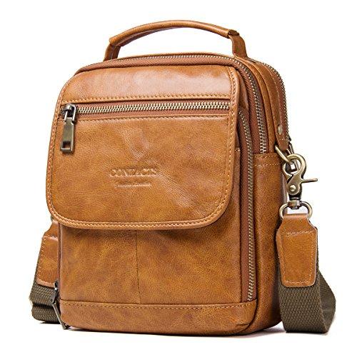 Contacts Echtes Leder Herren iPad Tab Messenger Crossbody Tasche Handtasche (Braun)