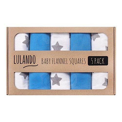 Lulando Pannolini Lavabili in Flanella Confezione da 5 Dimensioni 70 X 80 Cm, Copertine, Teli in Flanella per Neonato White/Grey Stars/Blue - 500 g
