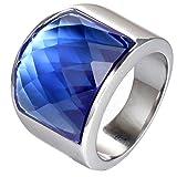 PAURO Uomo Donna Acciaio Inossidabile Argento Semplice Quadrato Grande Lucido Pietra Preziosa Larga Anello Fascia Blu Dimensione 17