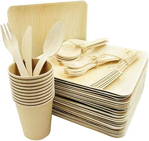 Box and Tree   100 Pièces de Vaisselle jetable, 25 Assiettes en Feuille de Palmier, Set de 25 Couverts Fourchettes+Couteaux+Cuillères en Bois Bambou-25 Gobelets en Carton Jetable   Biodegradable 100%