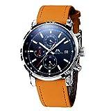Montre Homme Montre Militaire Etanche Sport Chronographe Quartz Calendrier de Date Montres Bracelets en Cuir Marron Chronometer...