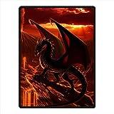 Custom Soft Cozy Dragon Monster Fleece Throw Blanket Queen Size 58 x 80